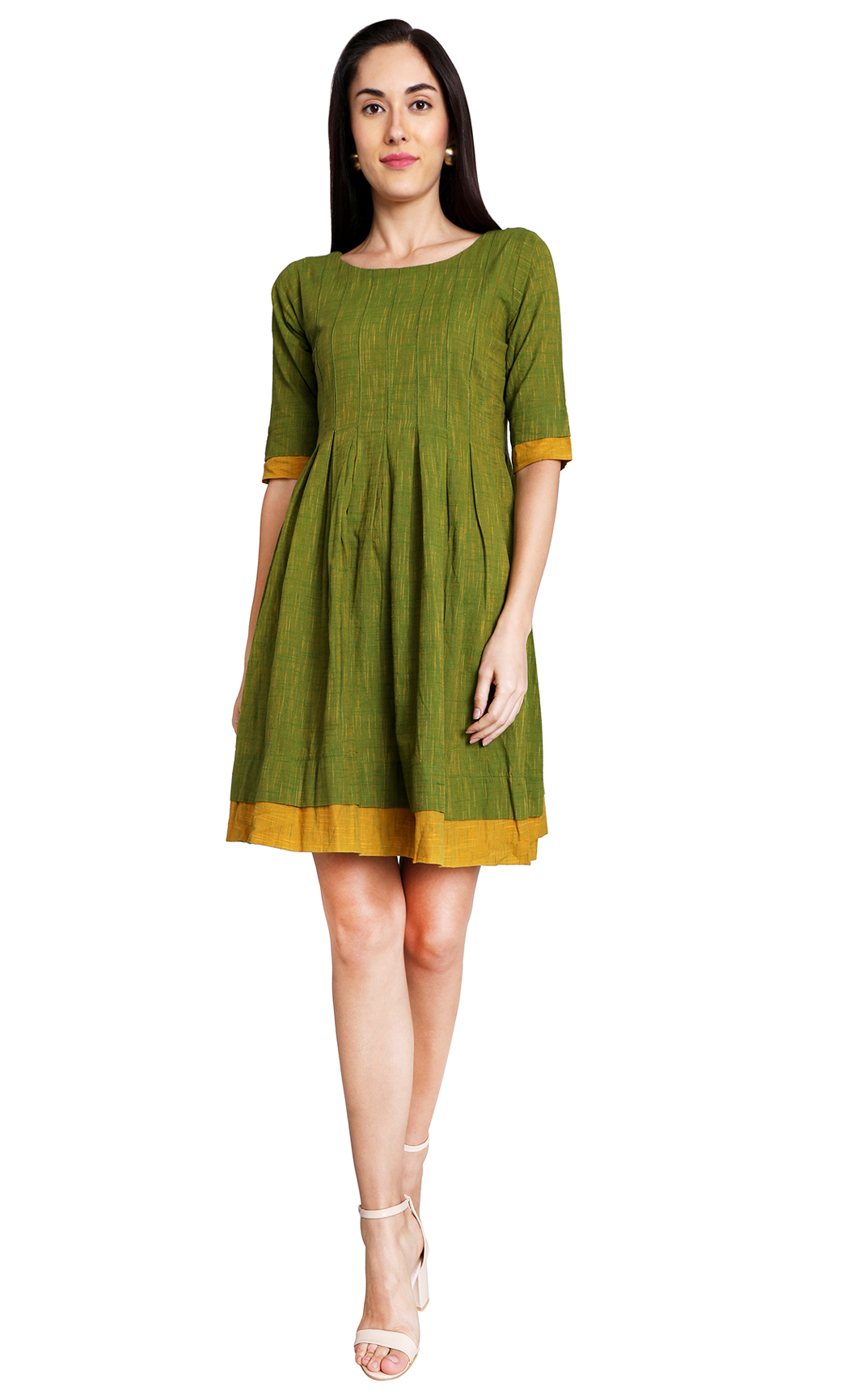 Olive green and Mustard Pleated Dress. Buy Online
