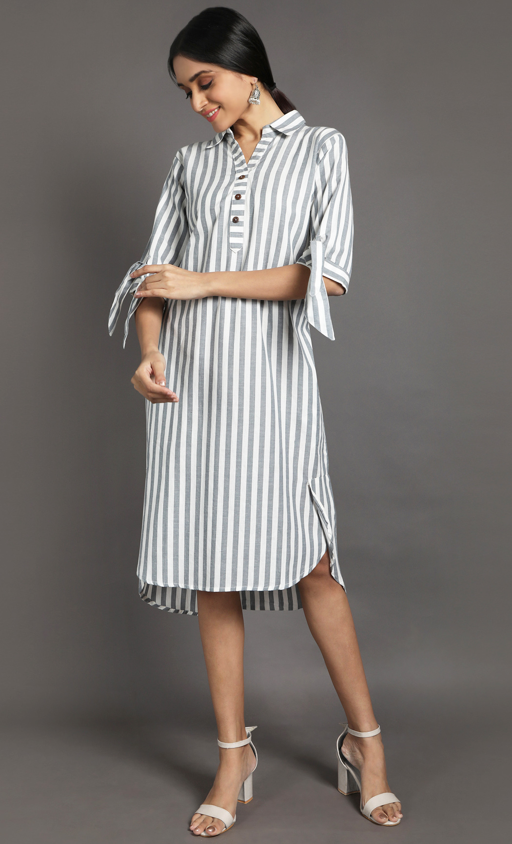 Grey and White Shirt Dress. Buy Online