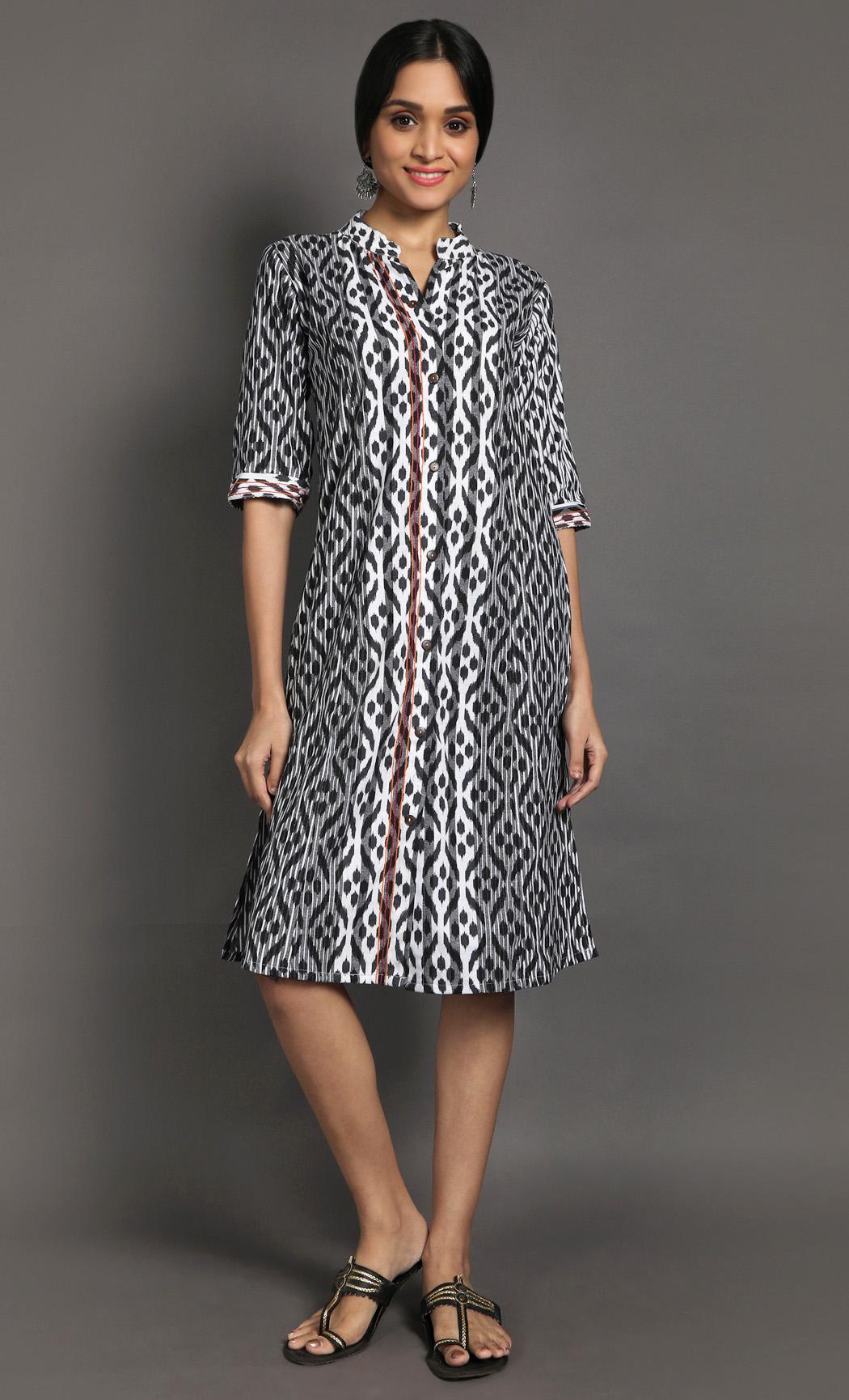 Black & White Ikkat Dress. Buy Online