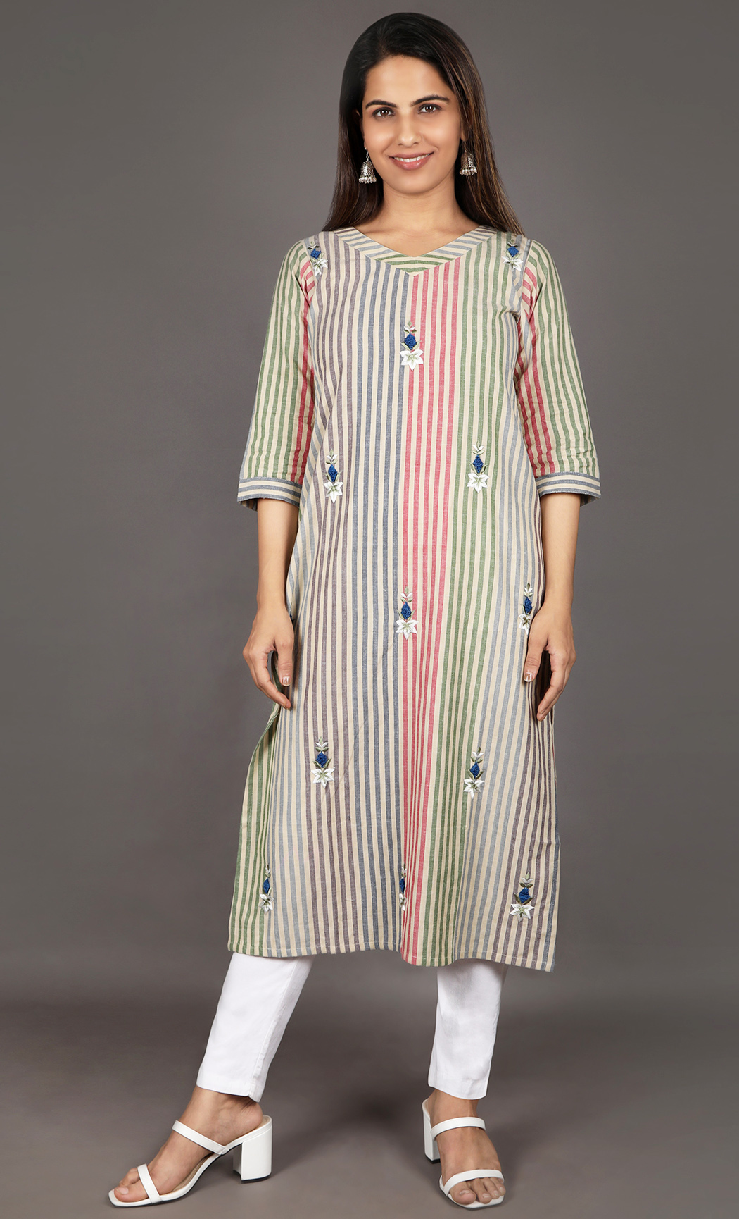 Multicolor Embroidered Kurta. Buy Online