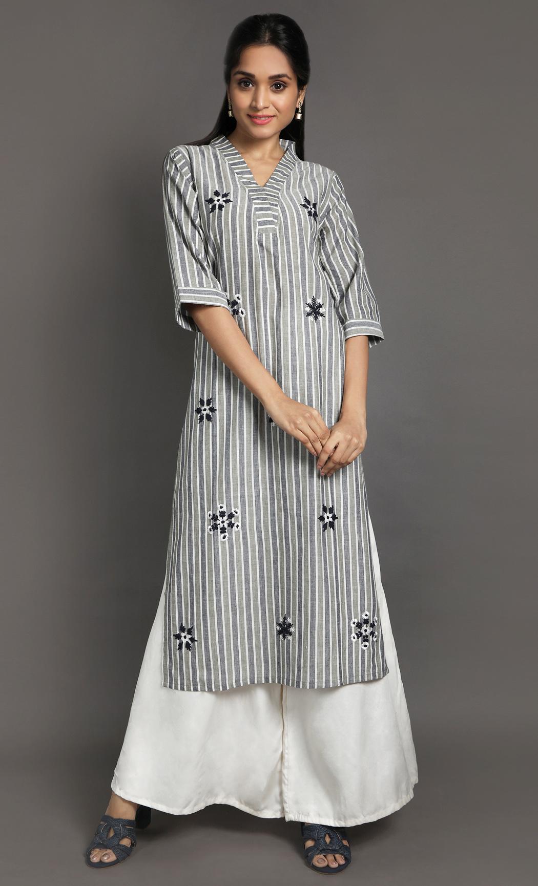 White & Grey Kurta. Buy Online