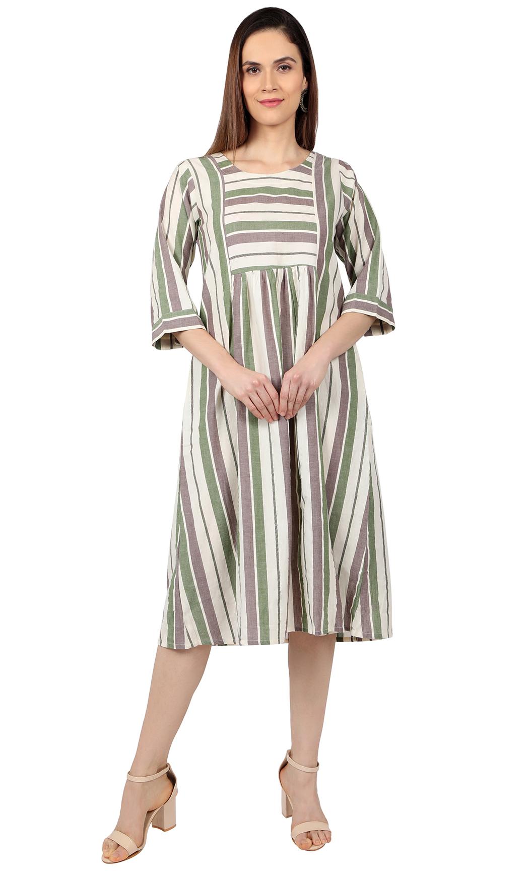 Beige and Olive Dress. Buy Online