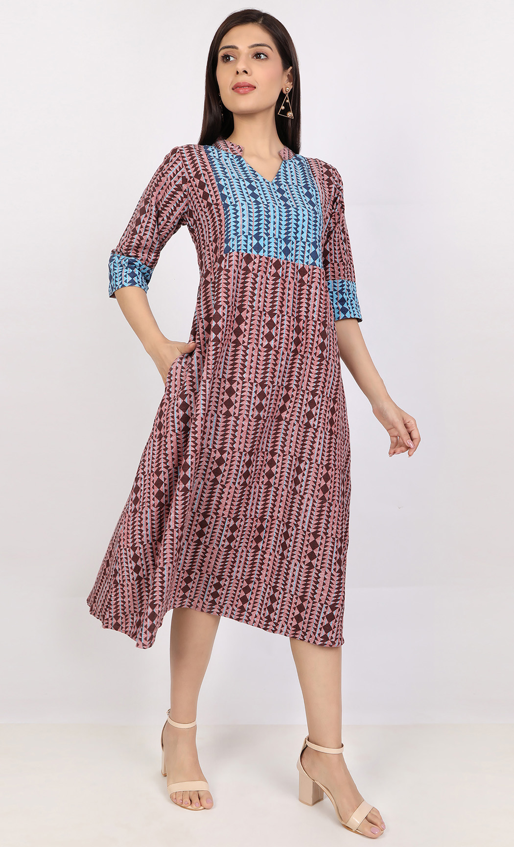 Blue and Maroon A-line Block Printed Dress. Buy Online