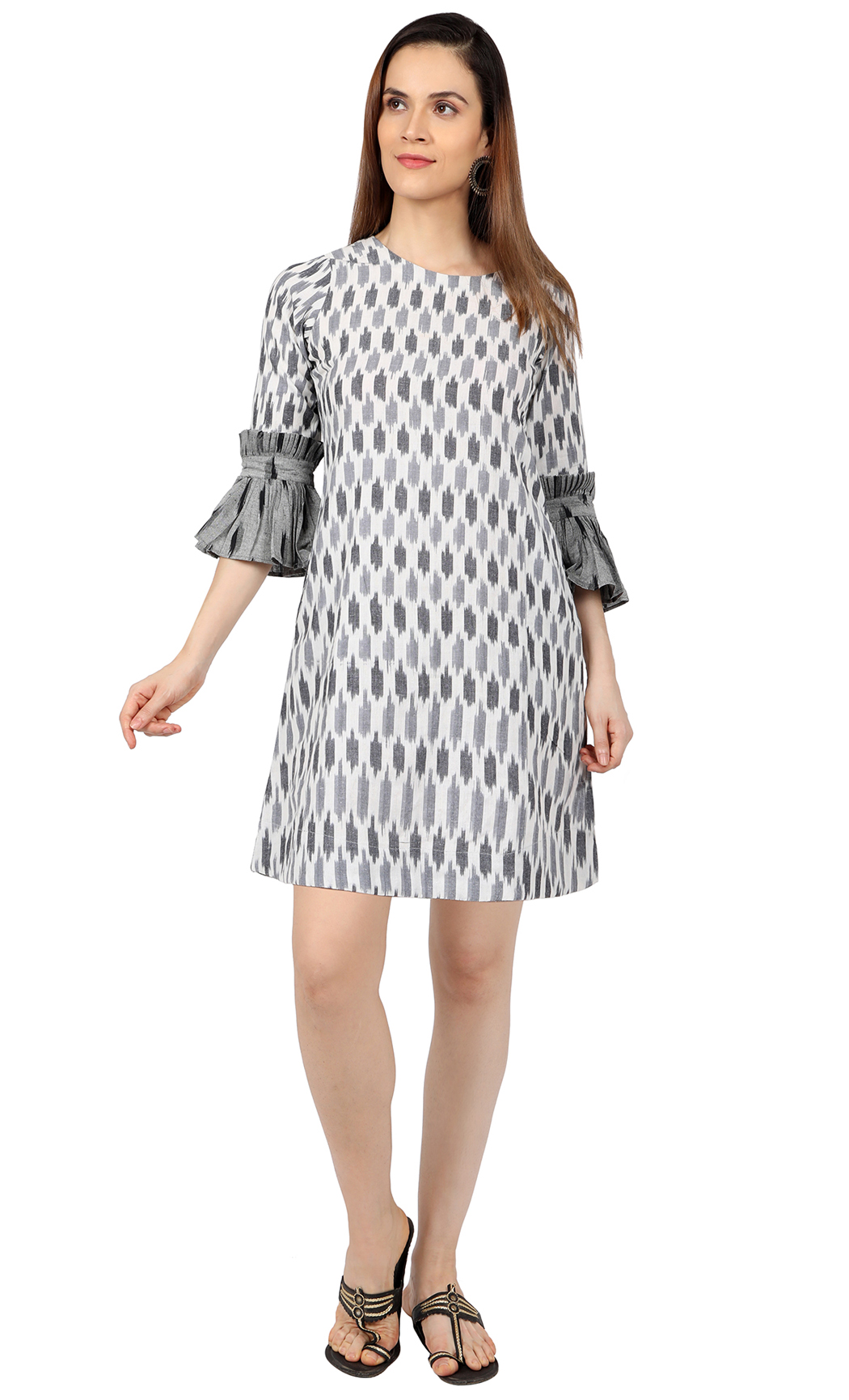 Grey and White Ikat Dress. Buy Online