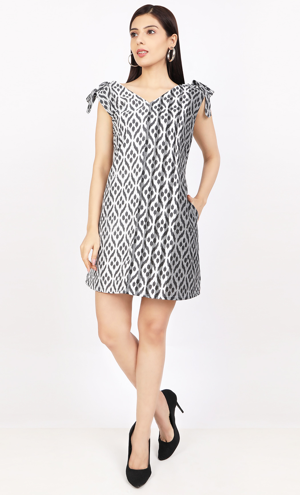 Black and White Ikat Printed Dress. Buy Online