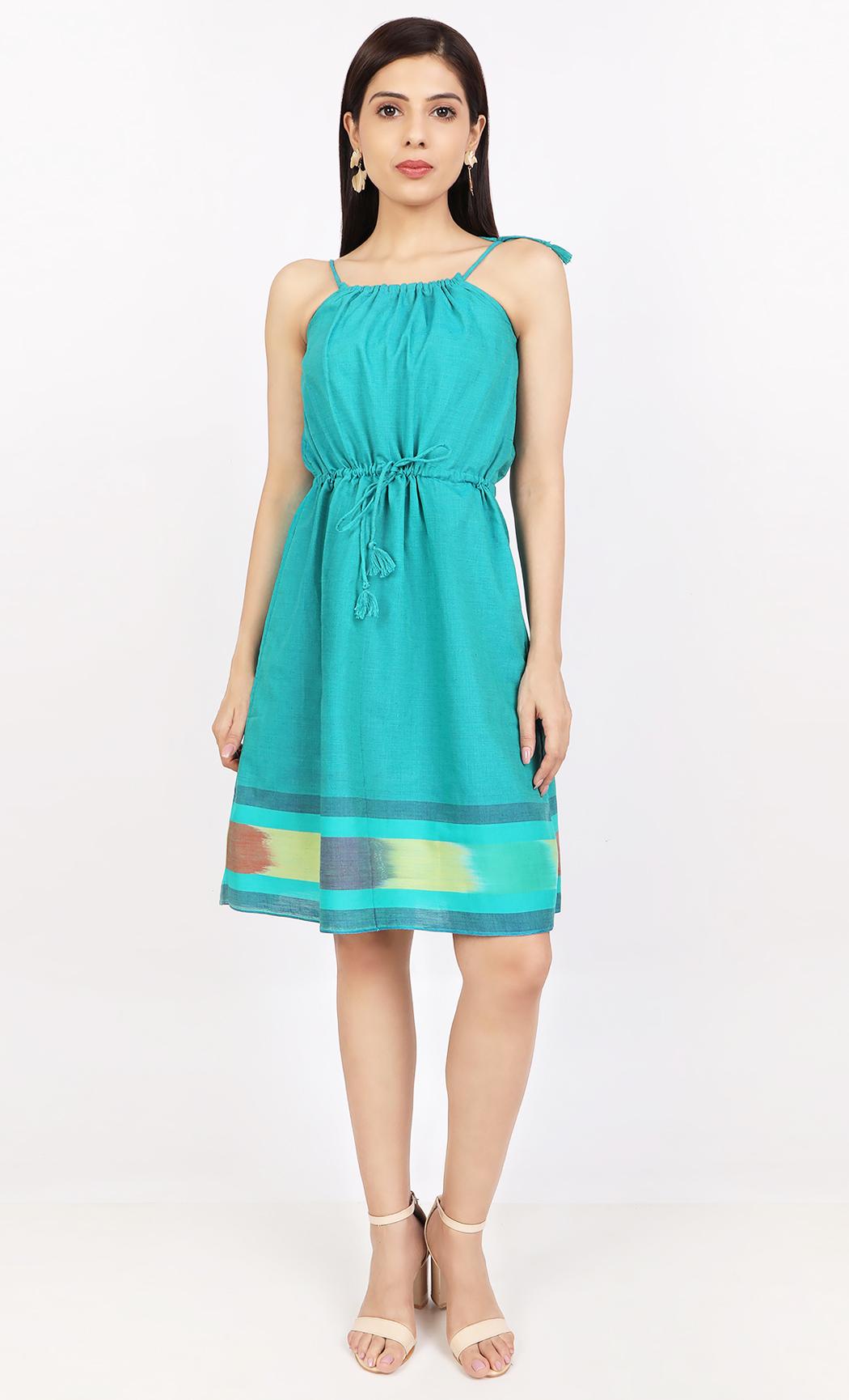 Green Handloom Dress. Buy Online