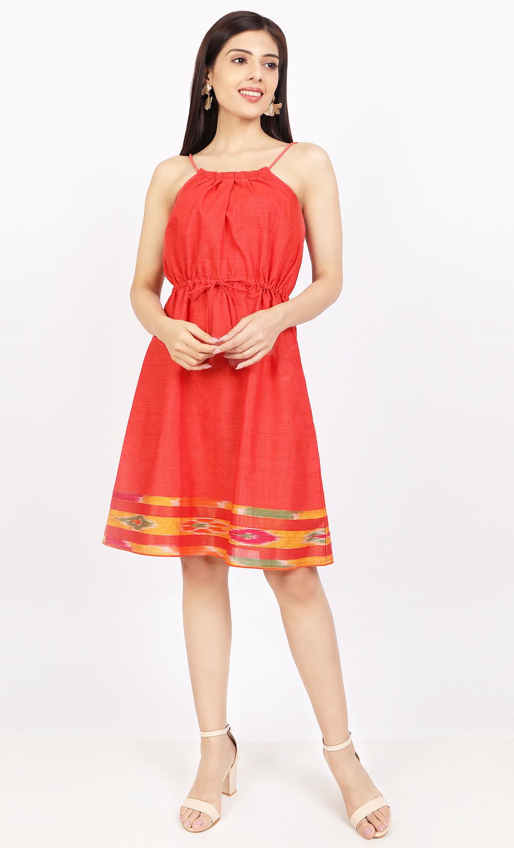 Red Handloom Dress. Buy Online