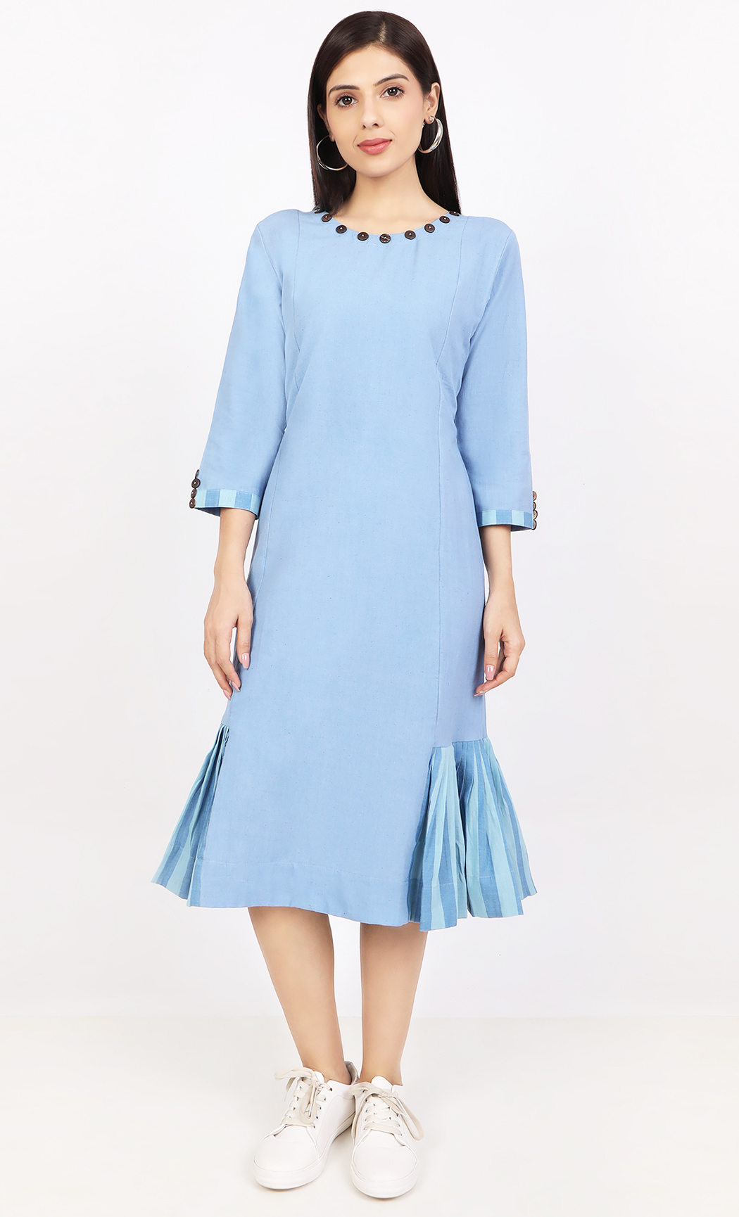 Blue Handloom Dress. Buy Online