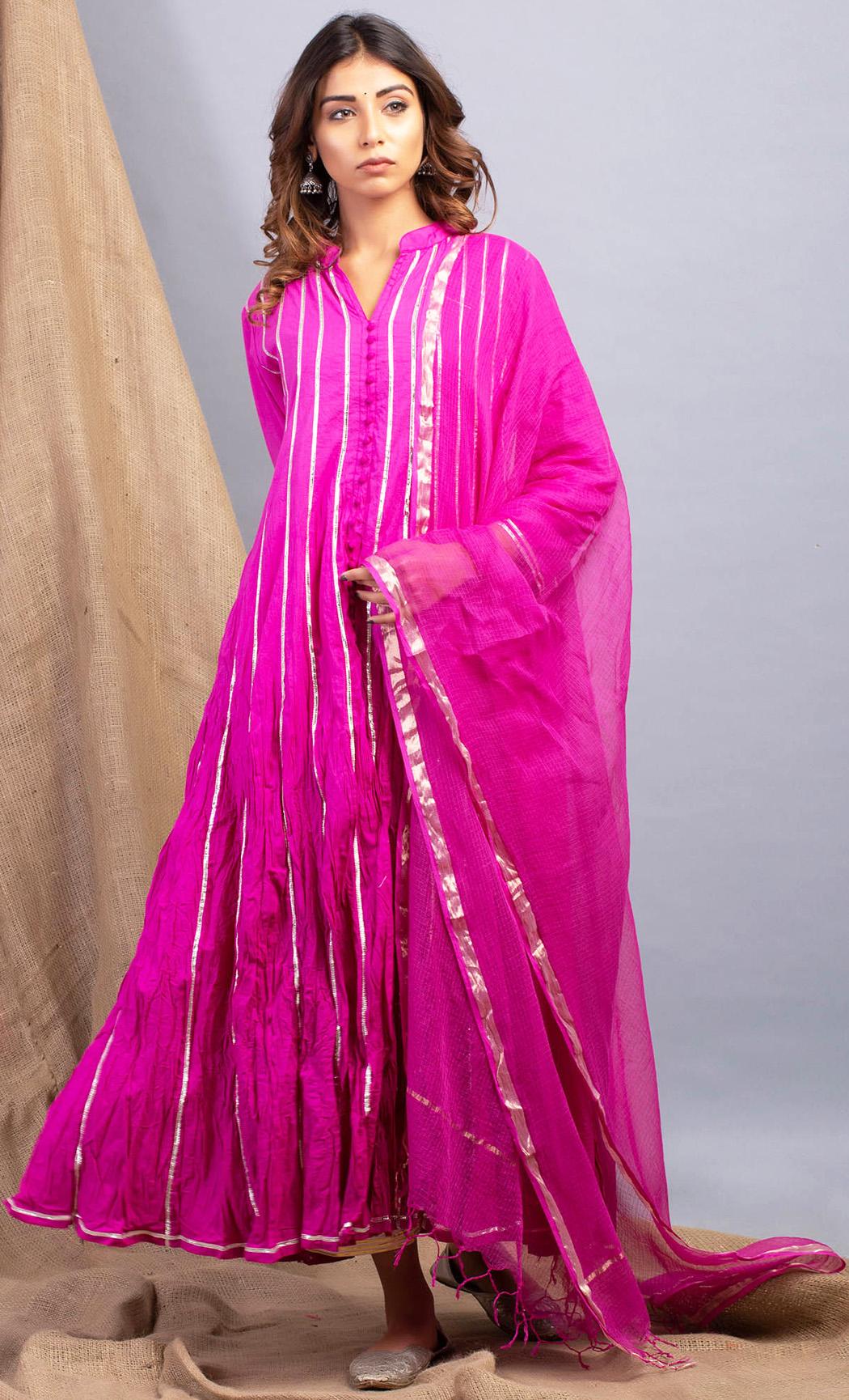 Aubergine Pink Kurta and Dupatta Set. Buy Online.