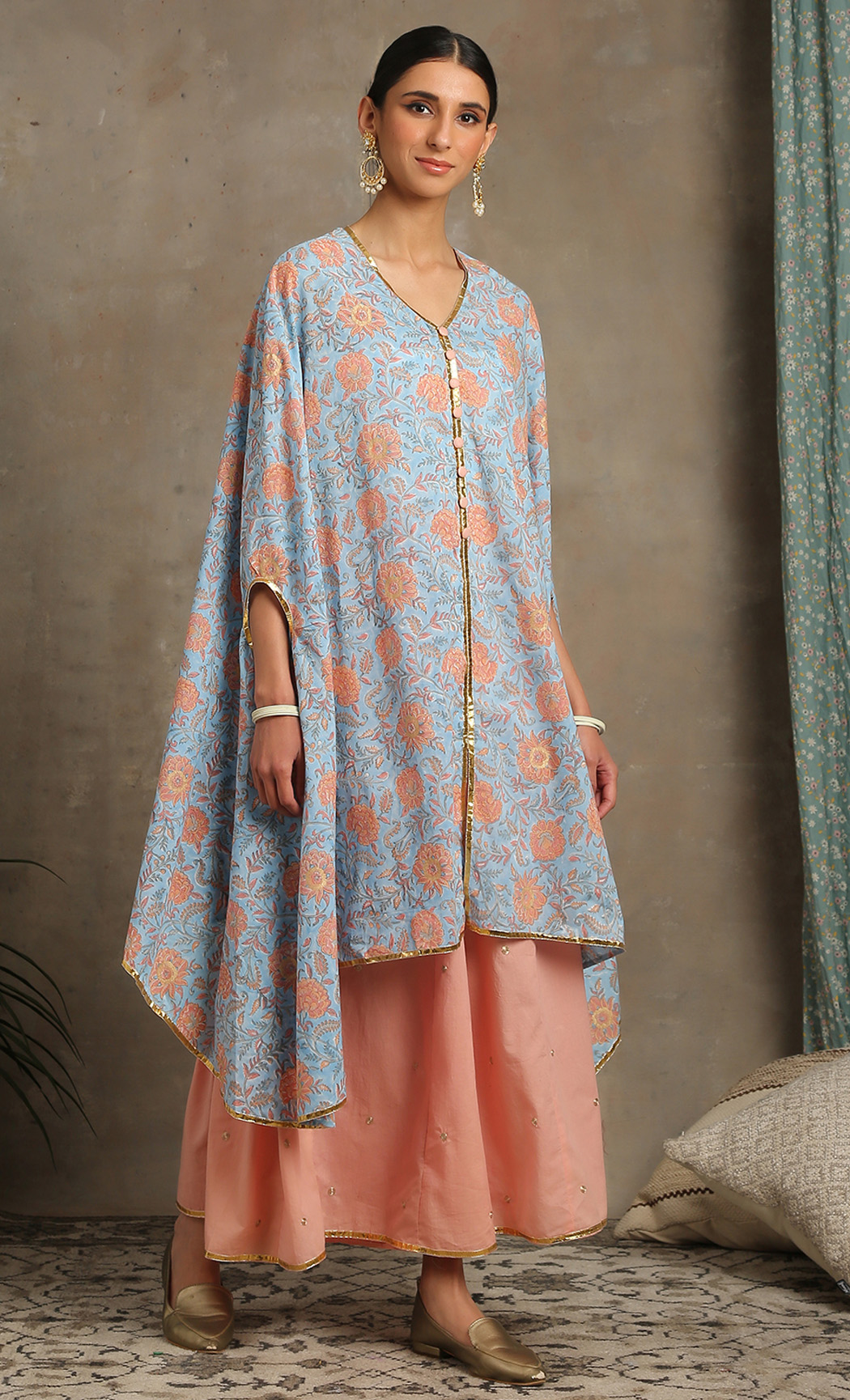 Heer -Turquoise Cape and Sharara Set. Buy Online