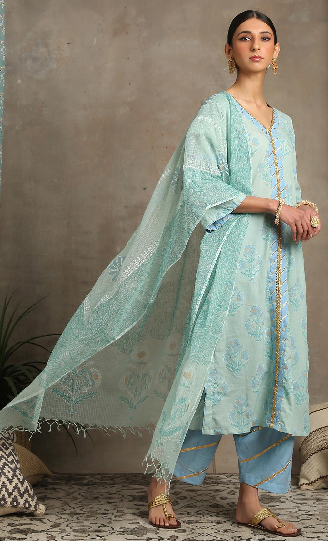 Sahar Ambar - Turquoise Kurta Set. Buy Online