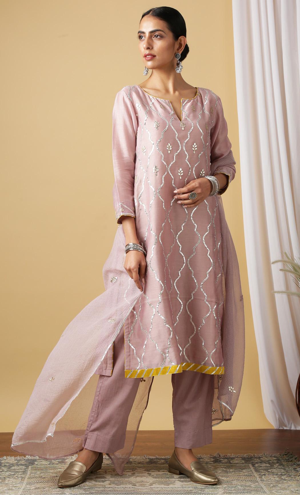 Chandrika Purple Kurta and Pants Set. Buy Online.