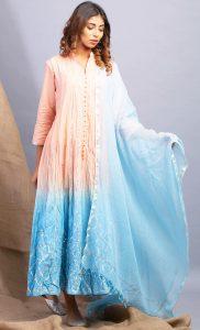 Dawn Hues Peach and Sky Blue Kurta and Dupatta Set. Buy Online.