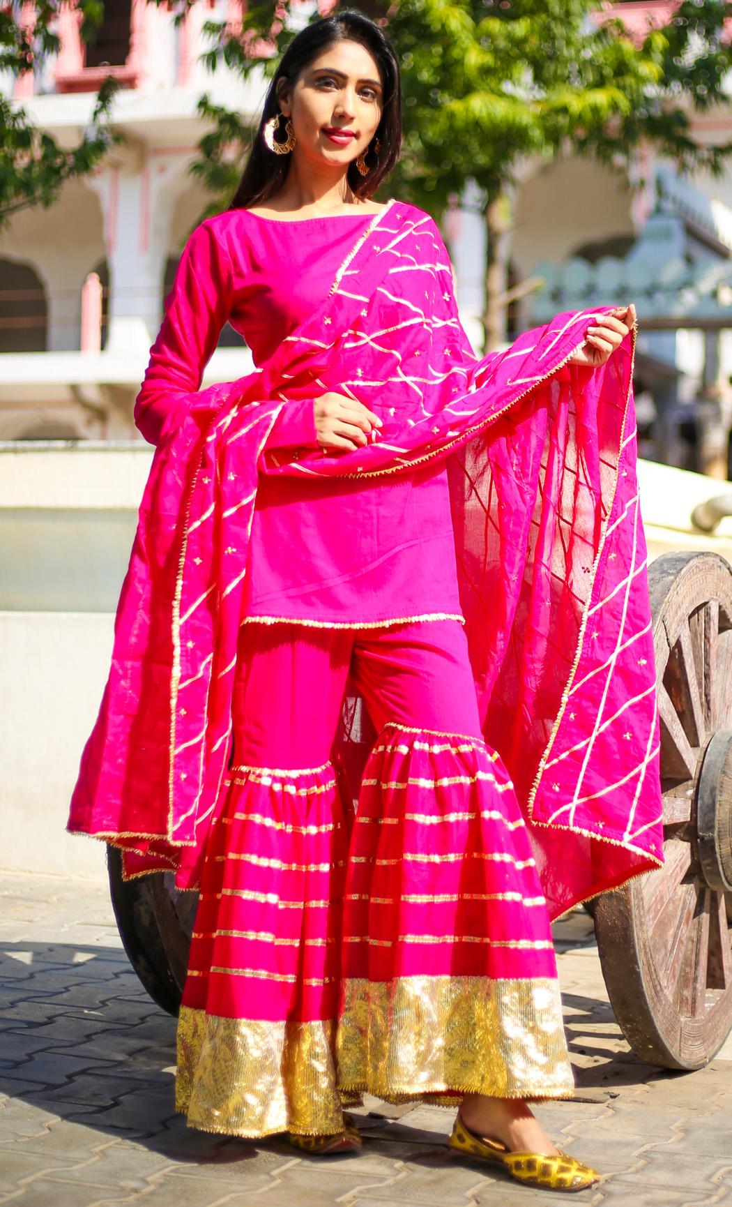 Rani Pink Kurta and Sharara Set. Buy Online.