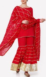Sindoor Red Kurta and Sharara Set. Buy Online.