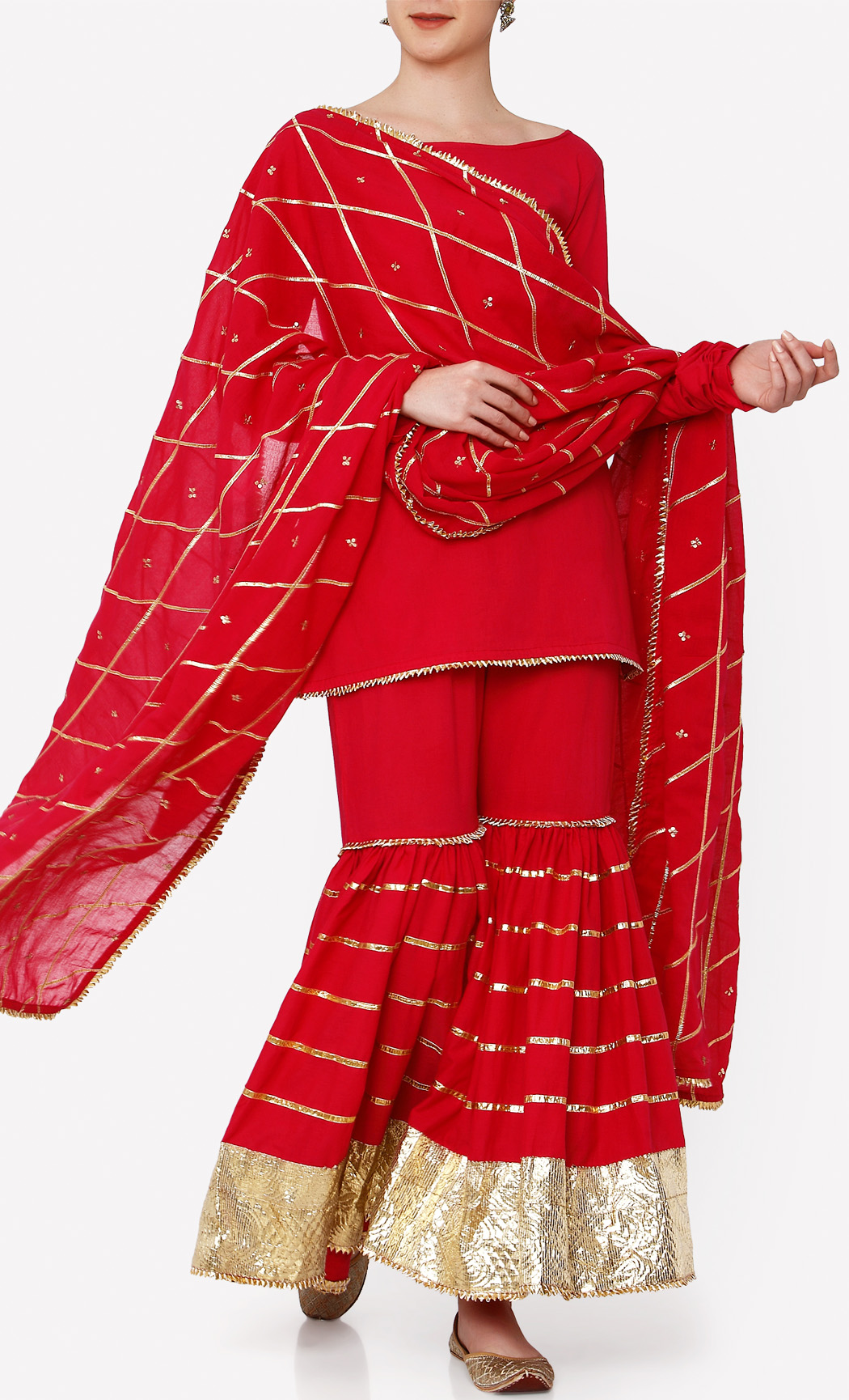 Sindoor Red Kurta and Sharara Set. Buy Online.