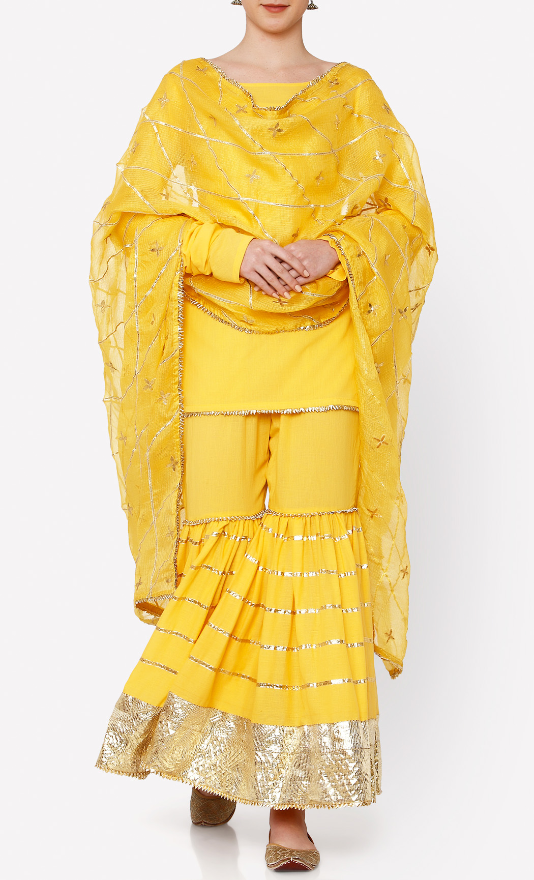 Yellow Kurta and Sharara Set. Buy Online.