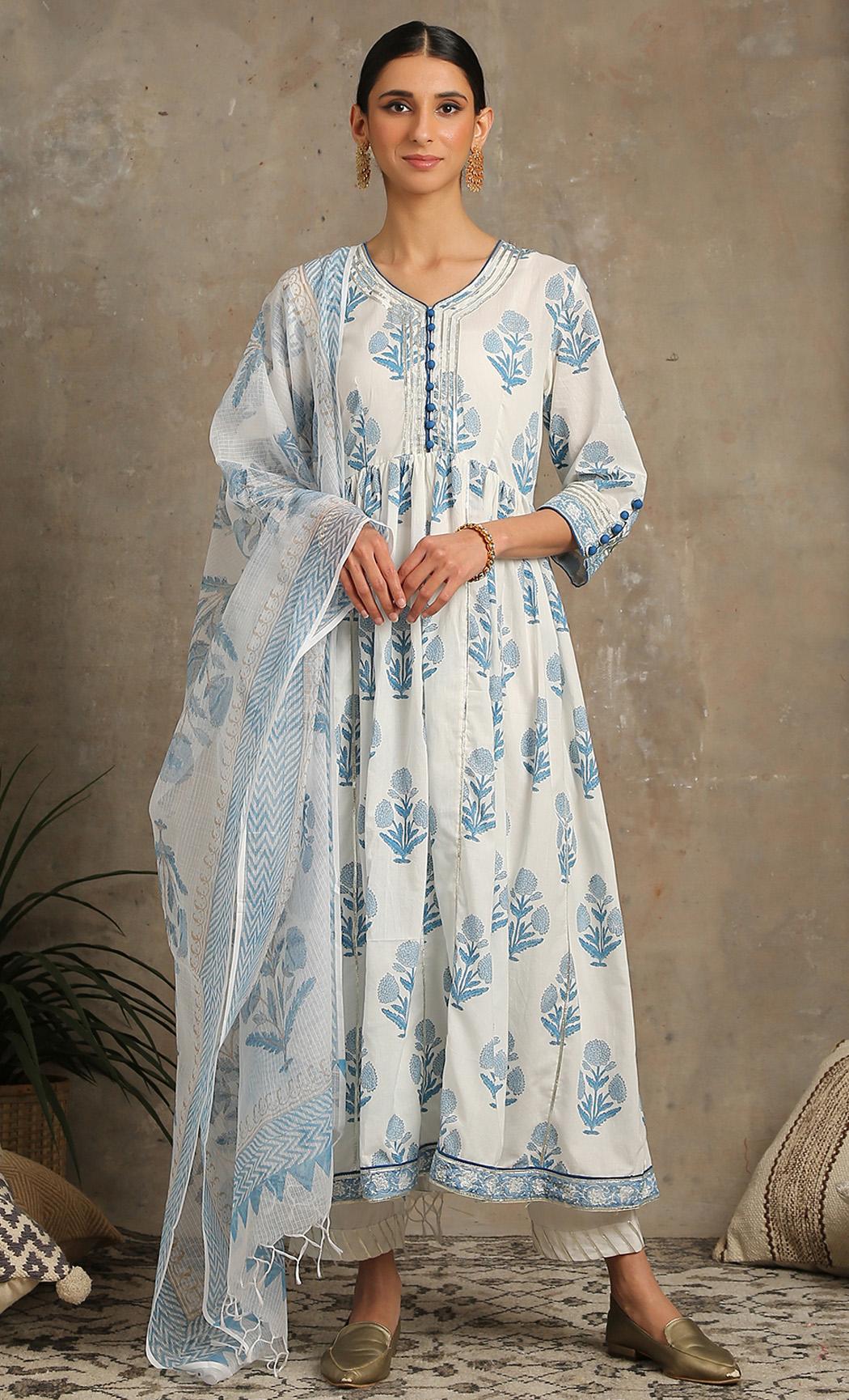 Tahira Neel - Blue Printed Kurta Set. Buy Online