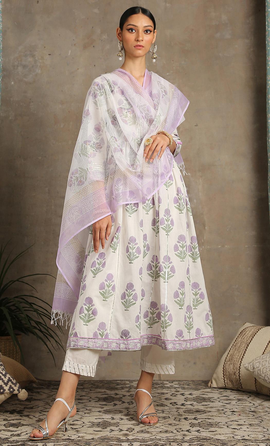 Tahira - Lavender Printed Kurta Set. Buy Online