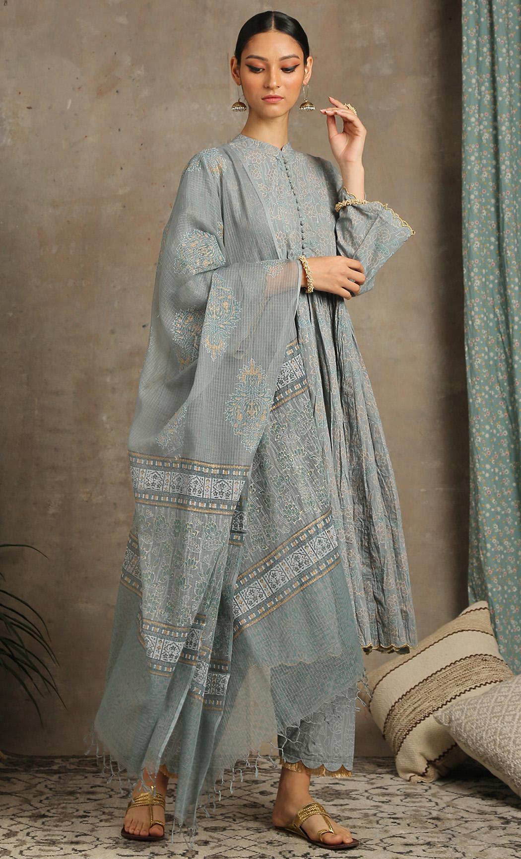 Inaayat - Grey Kurta Set. Buy Online