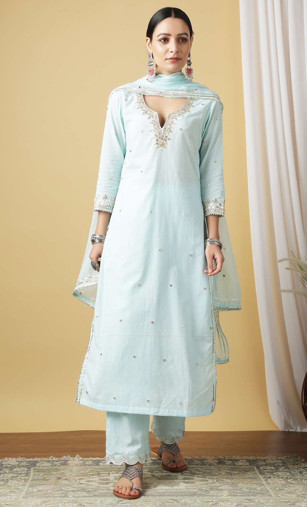 Mira Ambar Turquoise Kurta and Pants Set. Buy Online.