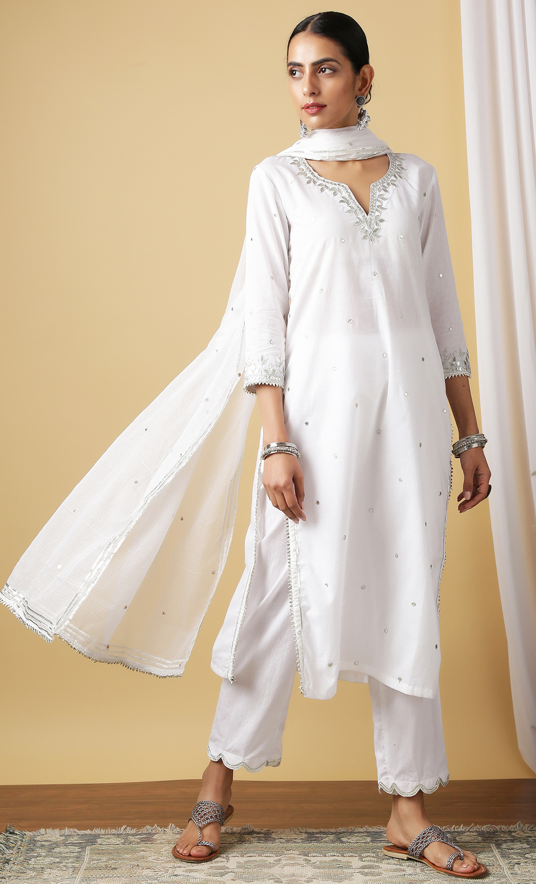 Mira Shwet White Kurta and Pants Set. Buy Online.
