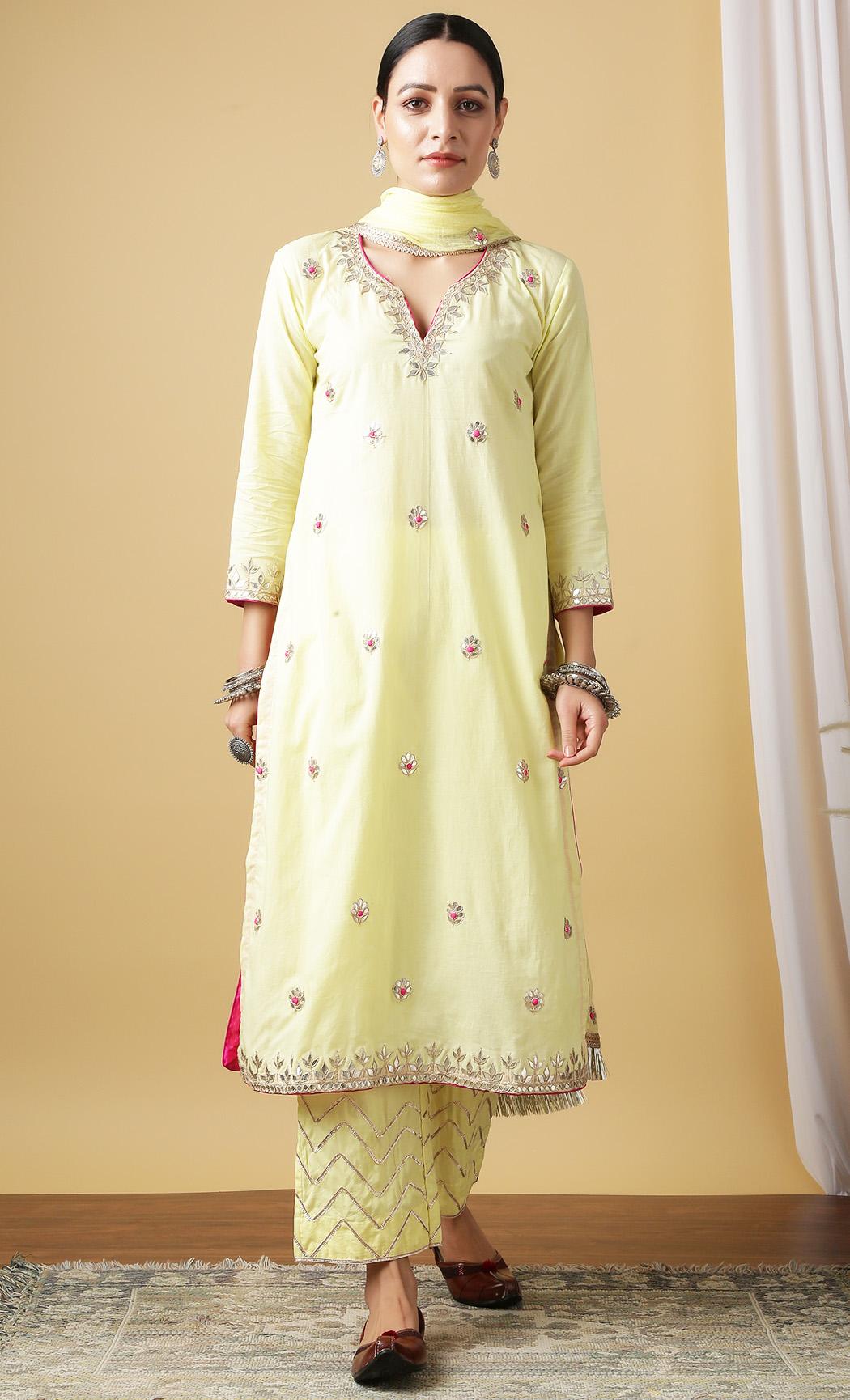 Nandini Haldi Yellow Kurta and Pants Set. Buy Online.