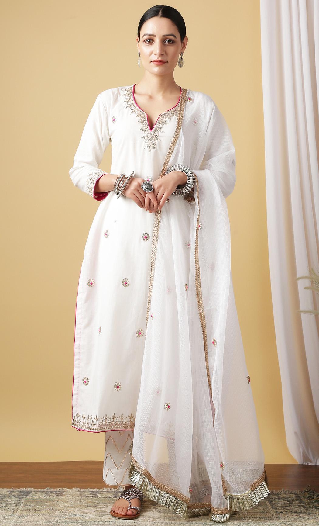Nandini Shwet White Kurta and Pants Set. Buy Online.