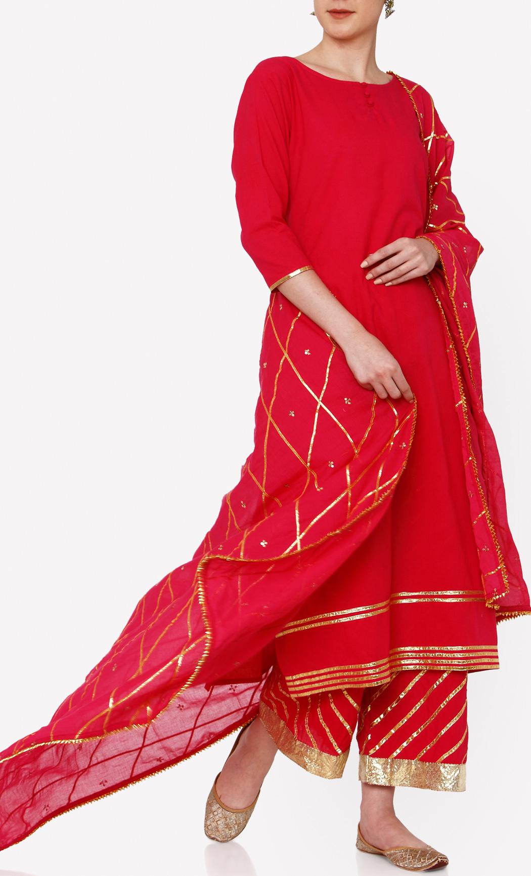 Lehriya Gulab Red Kurta and Pants Set. Buy Online.