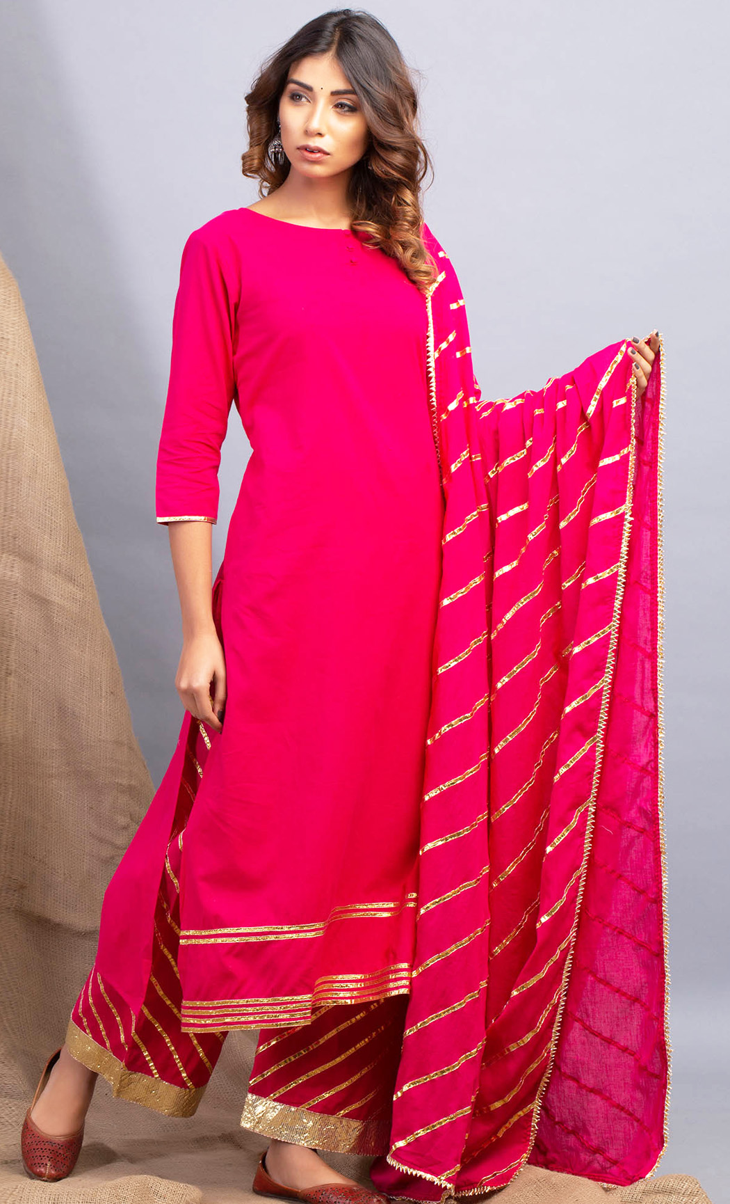 Lehriya Gulabo Pink Kurta and Farshi Set. Buy Online.