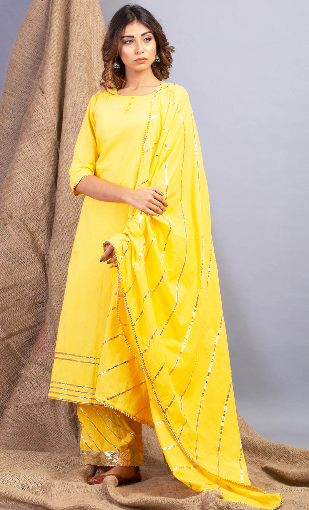 Lehriya Haldi Yellow Kurta and Farshi Set. Buy Online.