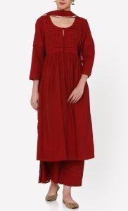 Nayanika Maroon Kurta and Pants Set. Buy Online.