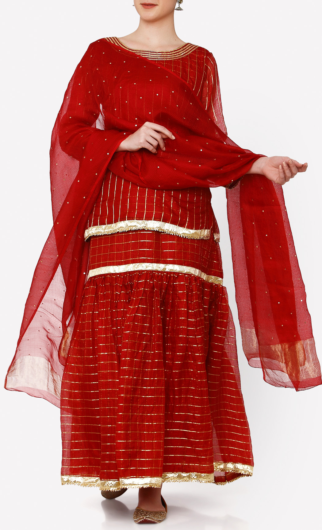 Ruby Red Kurta and Gharara Set. Buy Online.