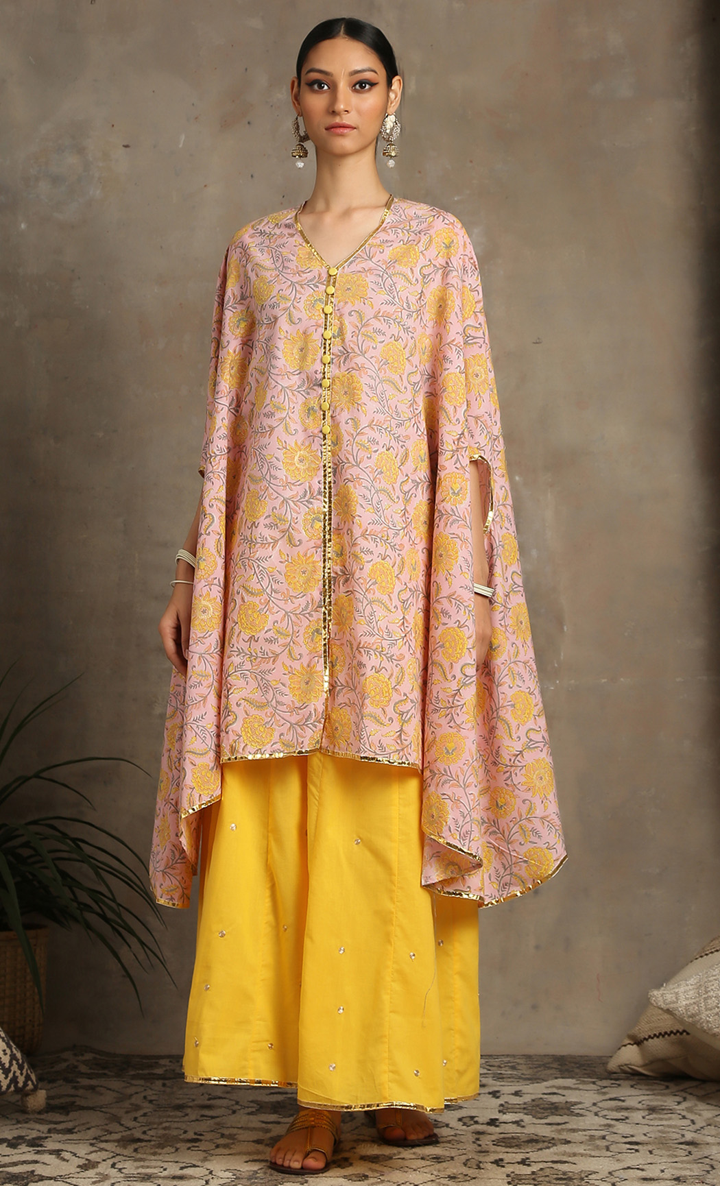 Heer - Peach Cape and Palazzo Set. Buy Online