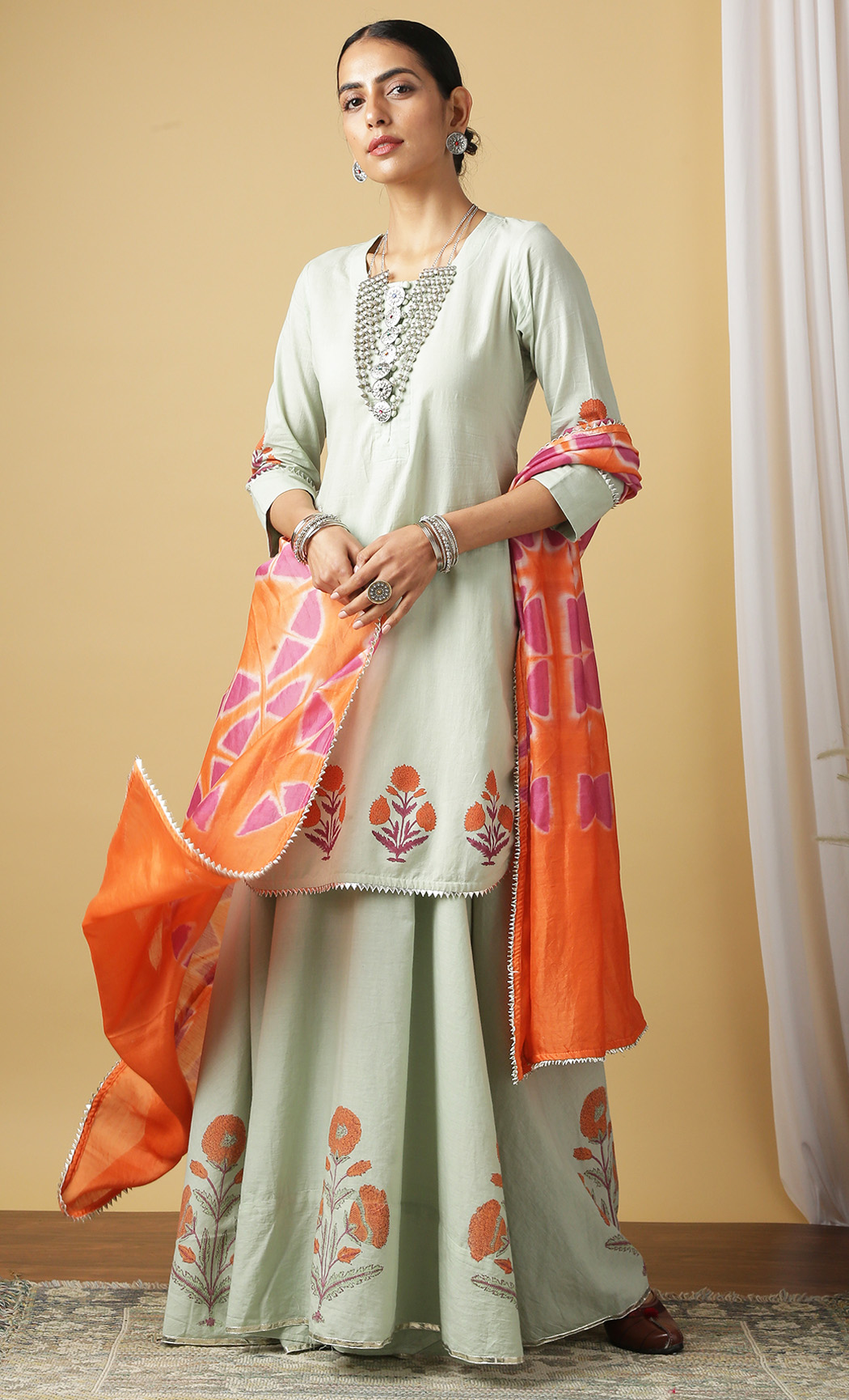 Mandakini Pistachio Kurta and Skirt Set. Buy Online.