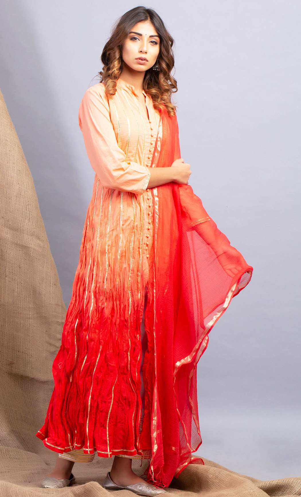 Ombre Peach Red Kurta and Dupatta Set. Buy Online.