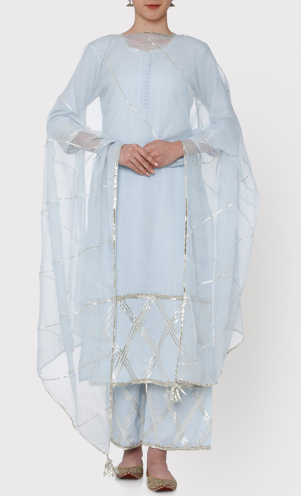 Padamja Powder Blue Kurta and Pants Set. Buy Online.