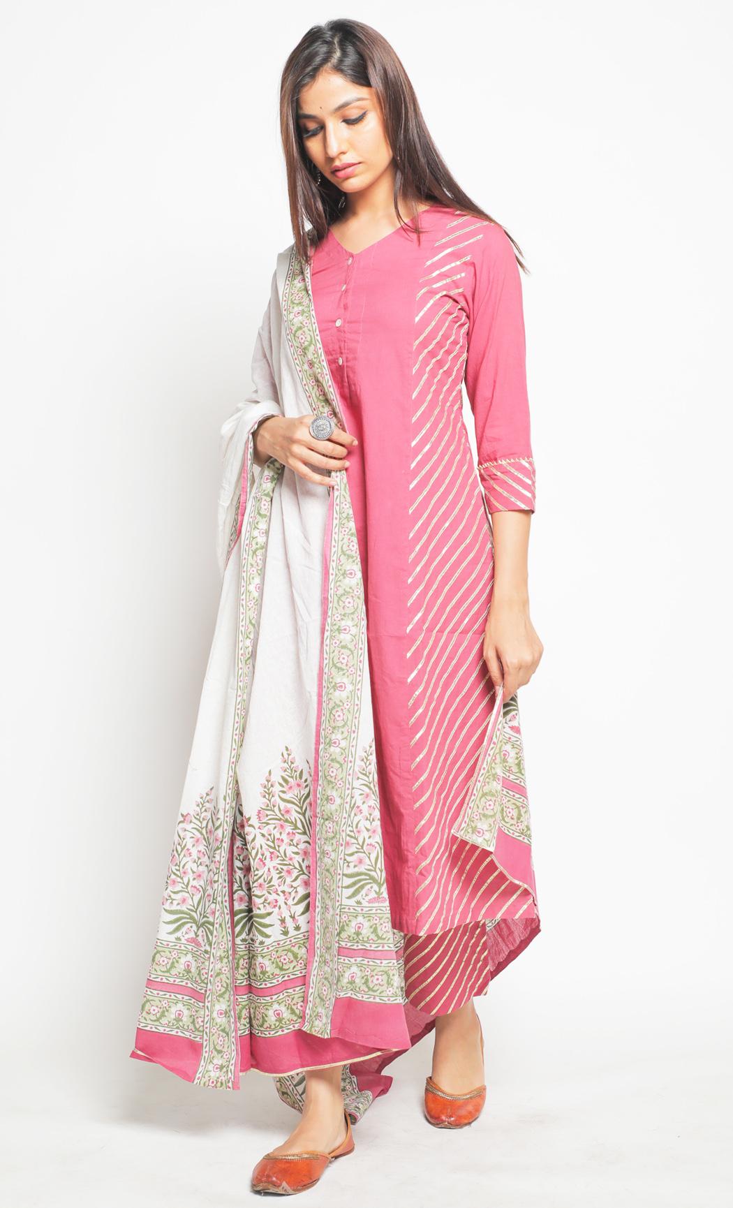 Mrigesha Pink Kurta and Pants Set. Buy Online.