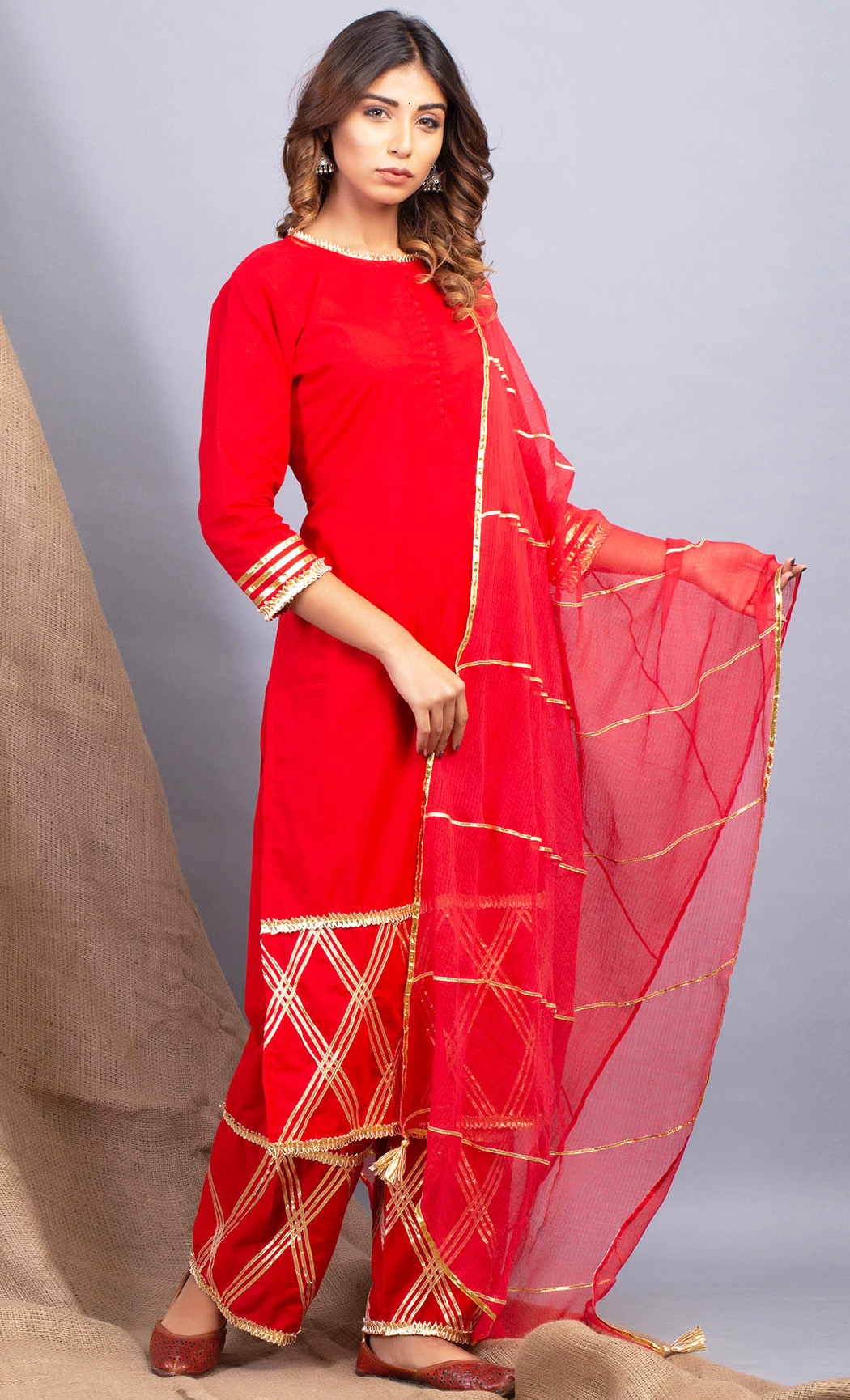 Padamja Red Kurta and Pants Set. Buy Online.
