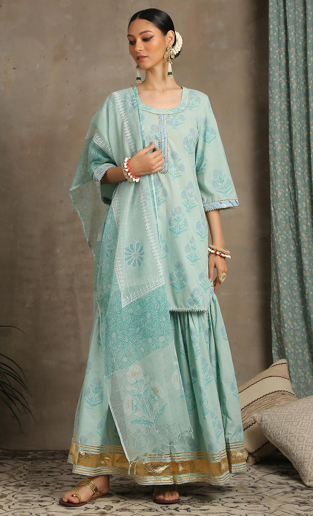 Sharanya Amber - Sea Green Kurta and Sharara Set. Buy Online