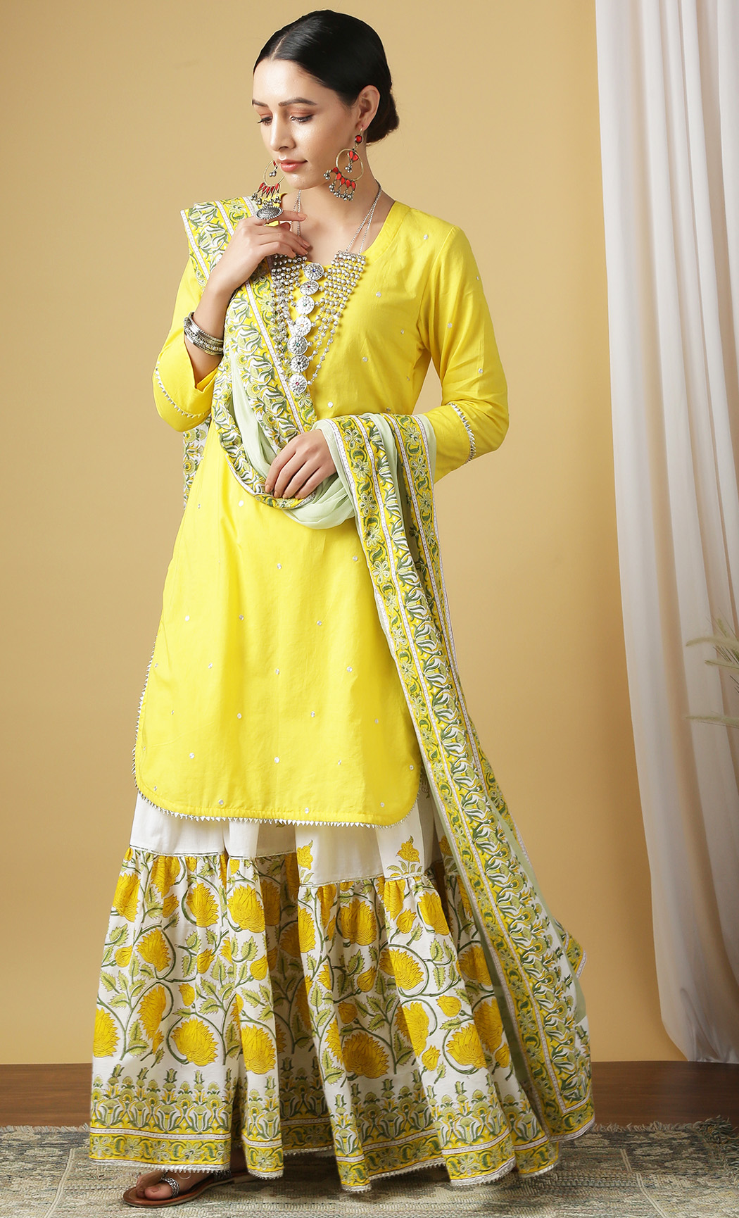Mrinalini Gudhal Yellow Kurta and Sharara Set. Buy Online.
