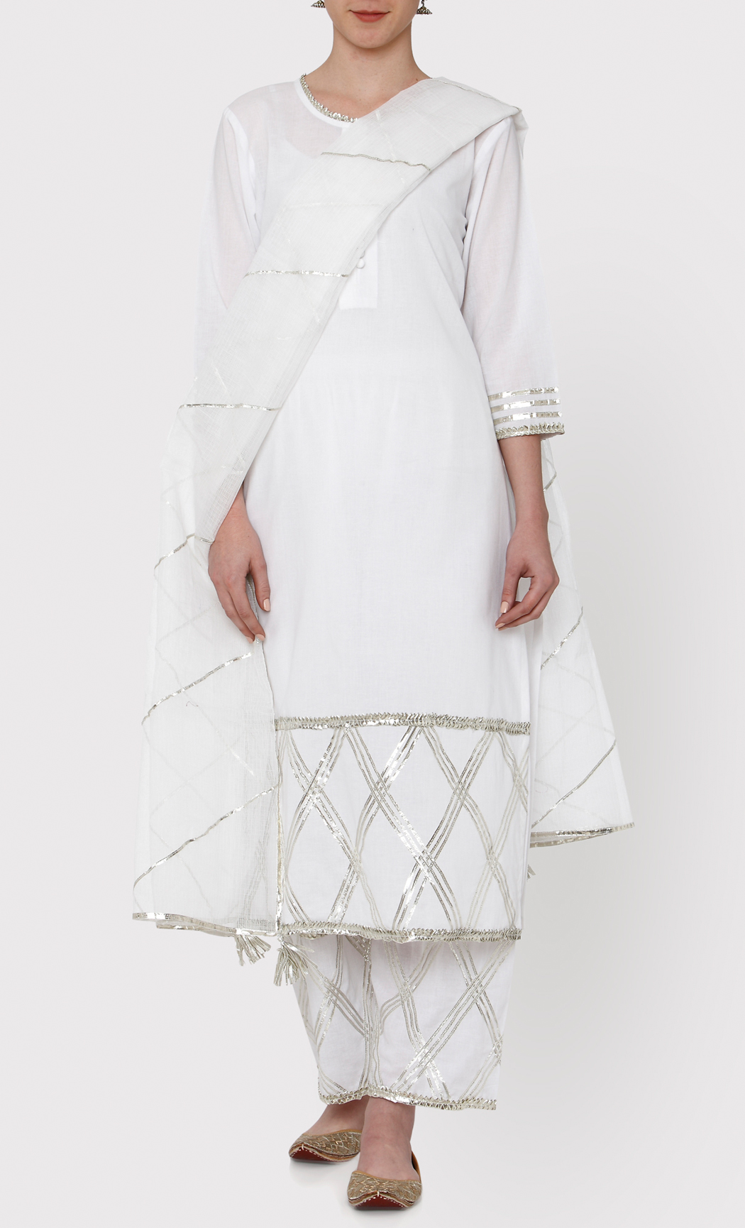 Padamja White Kurta and Pants Set. Buy Online.