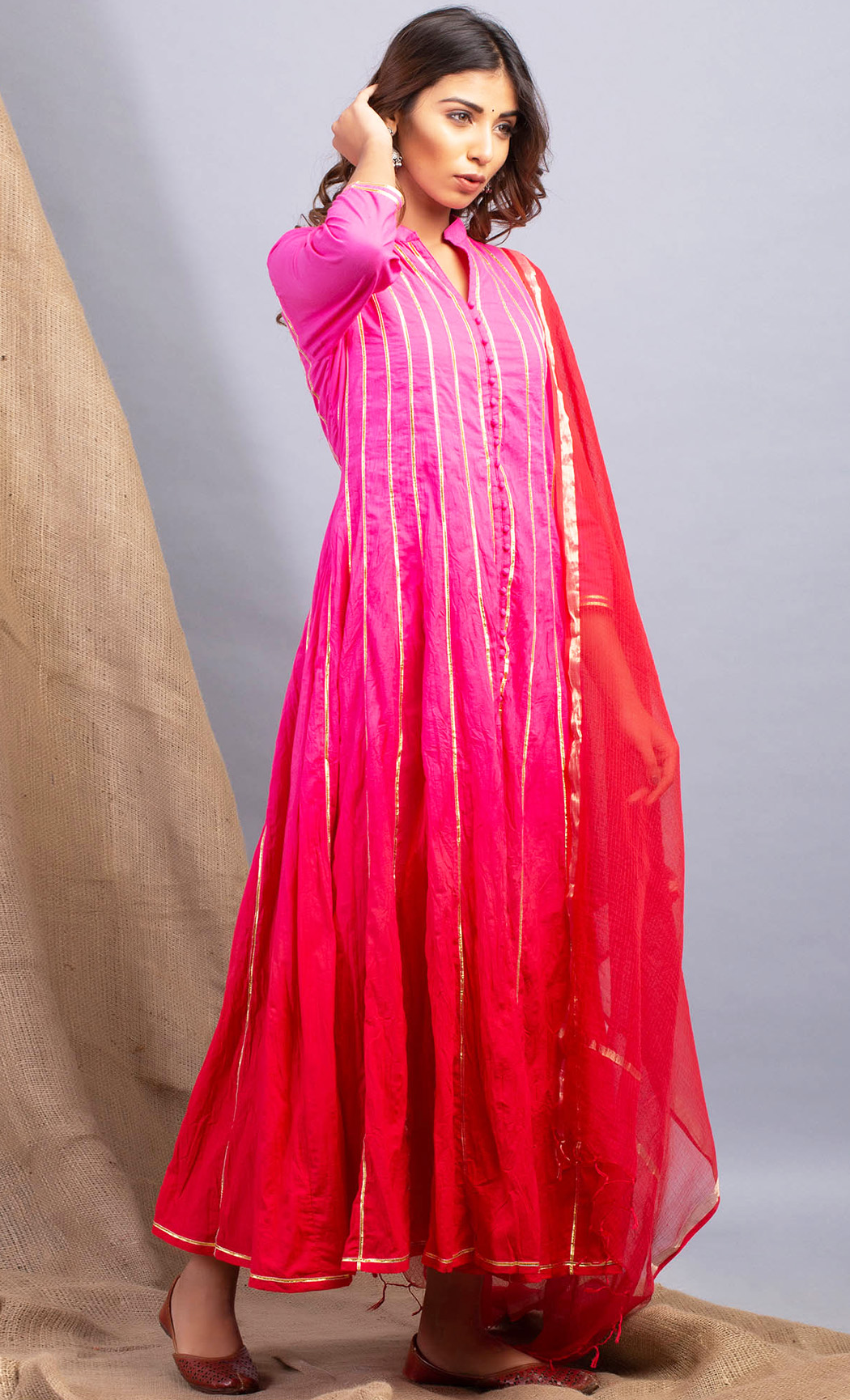 Ombre Pink Red Kurta and Dupatta Set. Buy Online.