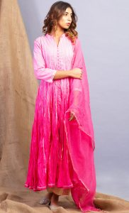 Ombre Pink Kurta and Dupatta Set. Buy Online.