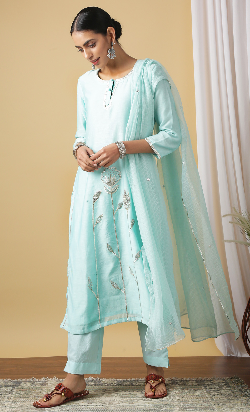 Nalina Light Blue Kurta and Pants Set. Buy Online.