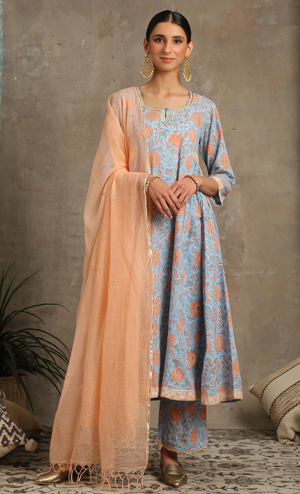 Blue Ambar - Peach Kurta Set. Buy Online