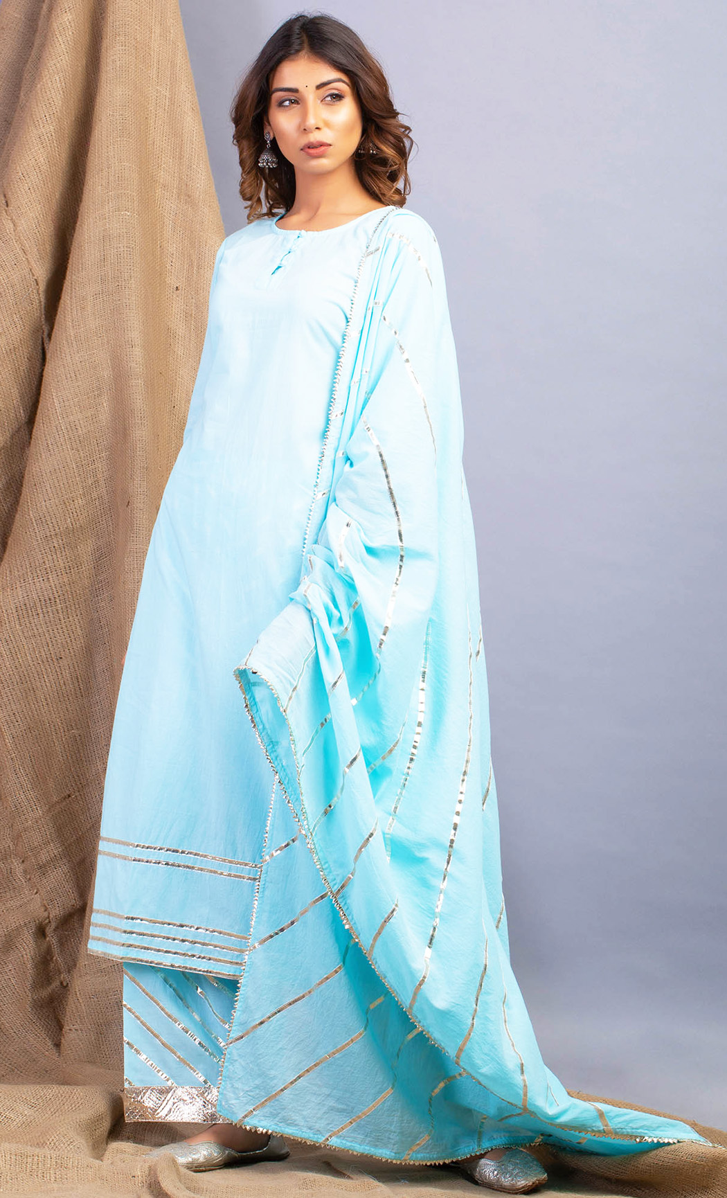 Lehriya Amber Blue Kurta and Farshi Set. Buy Online.