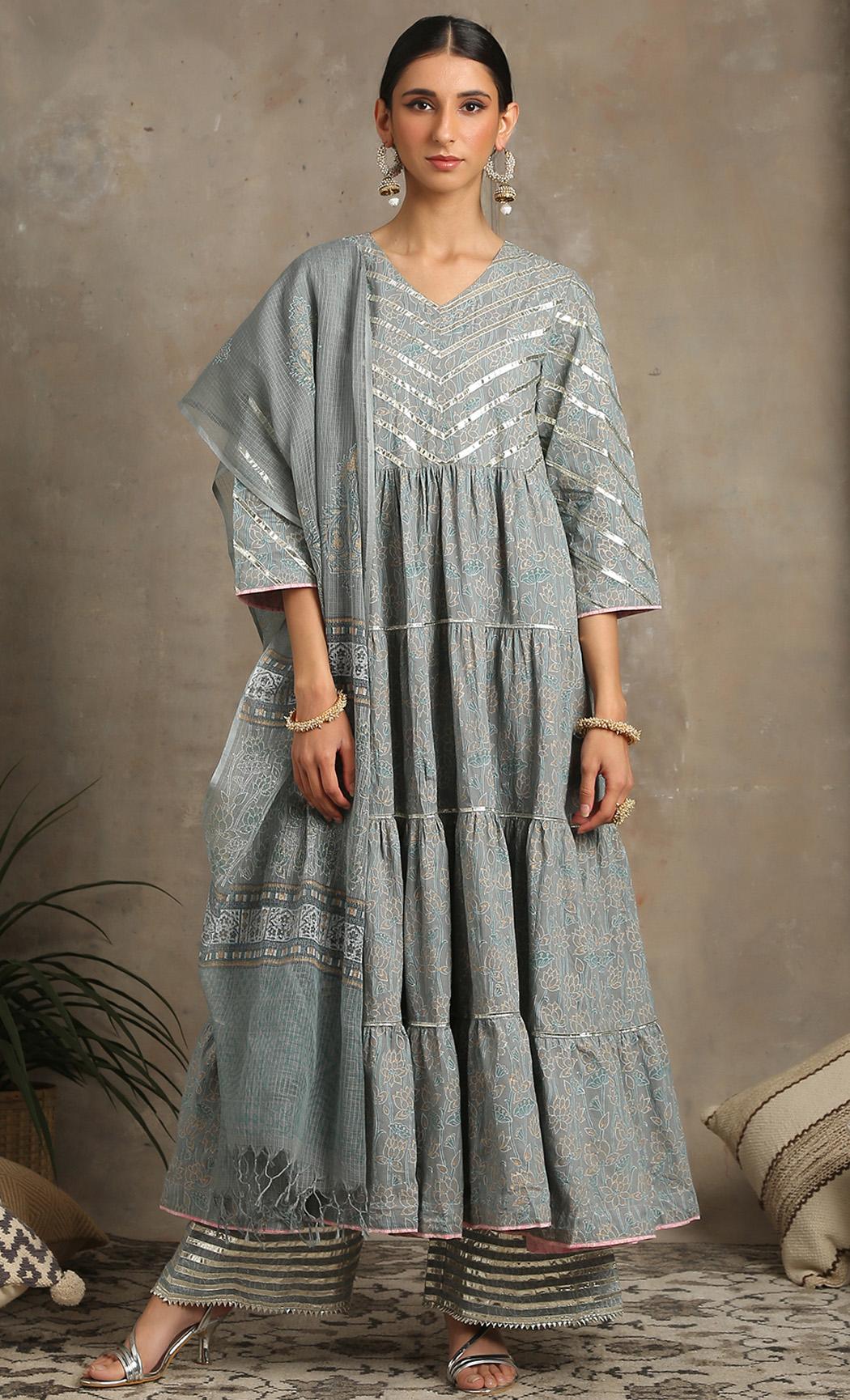 Neer - Grey Kurta and Farshi Set. Buy Online