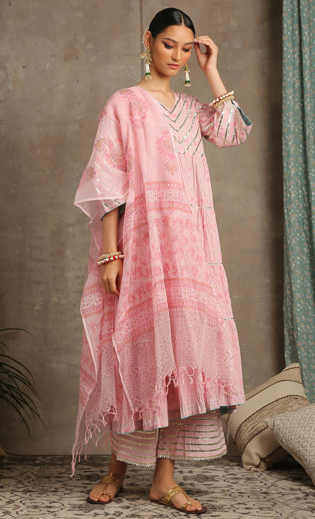 Neer Gulab - Pink Kurta and Farshi Set. Buy Online