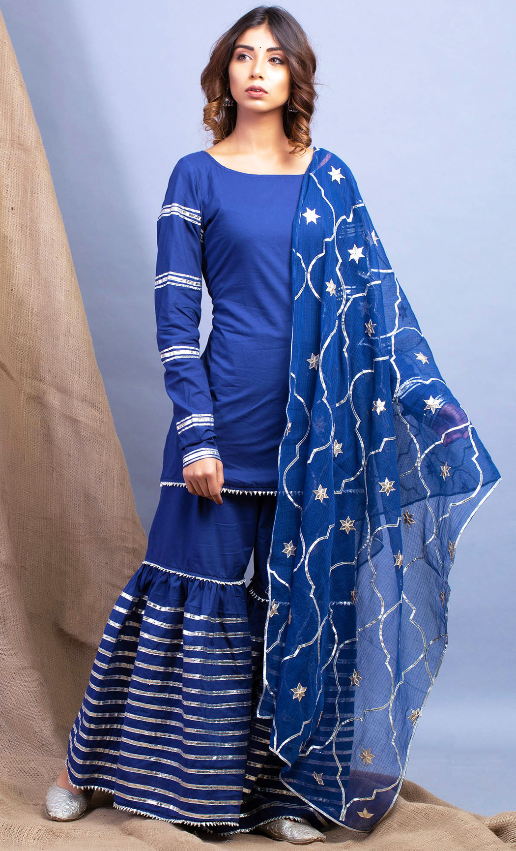 Umrao Neel Kurta and Sharara Set. Buy Online.